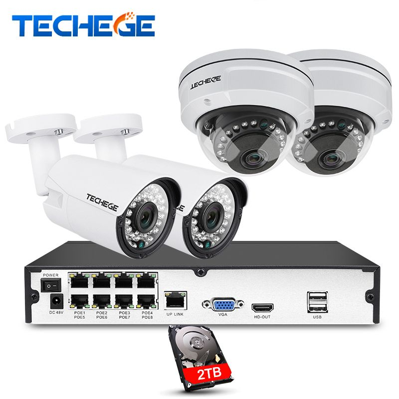 Techege 8CH full 1080P POE NVR kit 2.0MP 3000tvl NIght Vision dome camera IP POE Camera P2P Cloud Surveillance kit cctv system