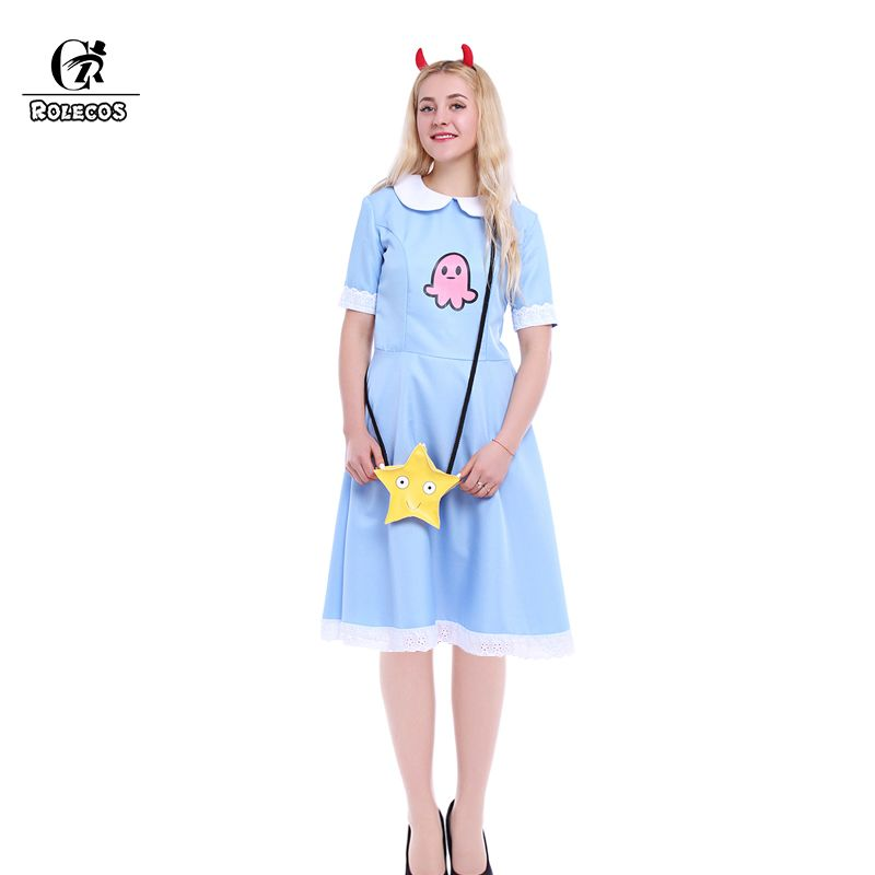 ROLECOS Américain Anime Étoiles vs Forces du Mal Femmes Cosplay Costume Princesse Étoiles Papillon Bleu Robe Longue Avec Messenger Sac
