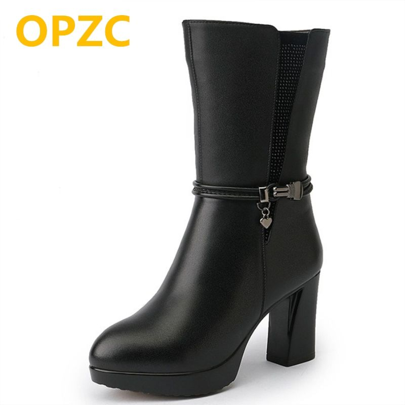 OPZC 2018 new genuine leather winter snow boots women, warm wool boots size 33, rhinestone trend motorcycle boots women shoes