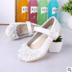Детские кожаные туфли модный бренд принцесса цветок одной девушки свадебные студентов белые туфли infantis Nina 257