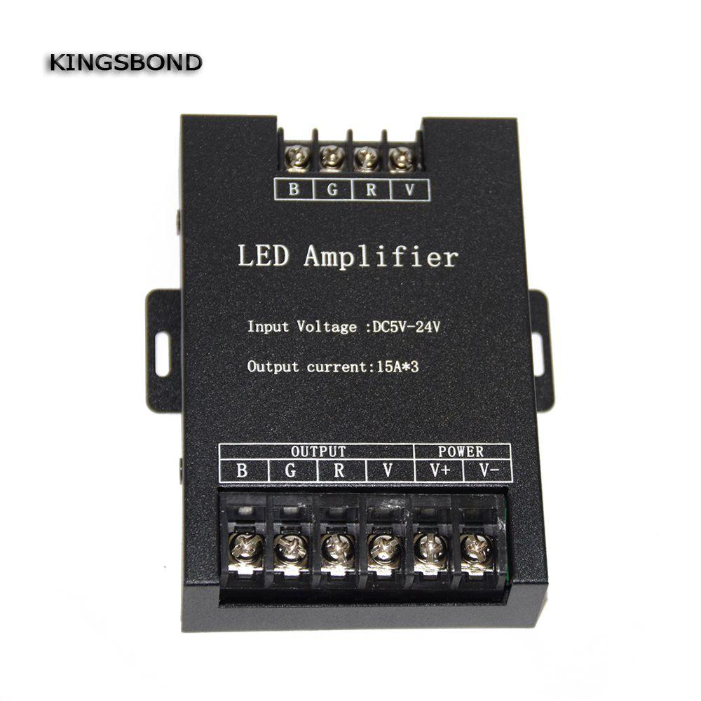 Led RGB Amplifier Controller input 5V/12V/24V 15A*3 45A Signal Repeater 360W for 3528 /5050 RGB Led strip