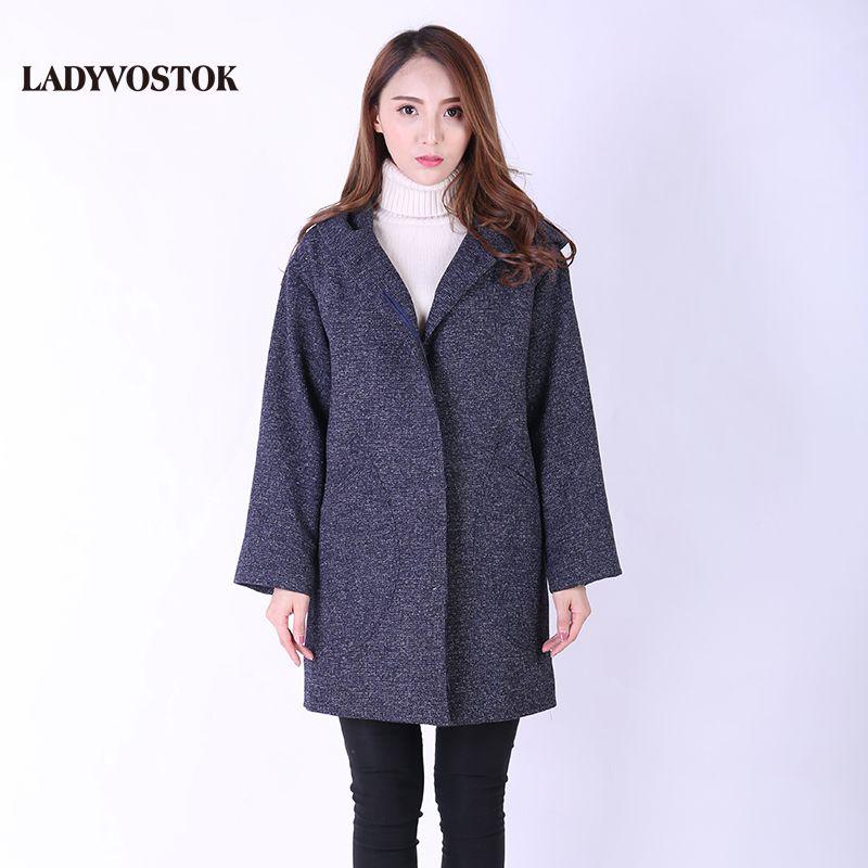 LADYVOSTOK Demi-season cashmere coat European style Women's woolen hooded jacket Spring fashion 8895