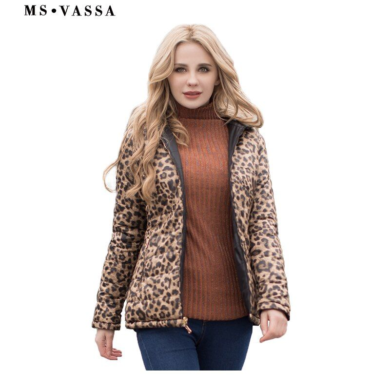MS VASSA Women Parkas 2017 New Autumn Winter reversible jackets leo print plus size 5XL 6XL stand up collar Ladies outerwear