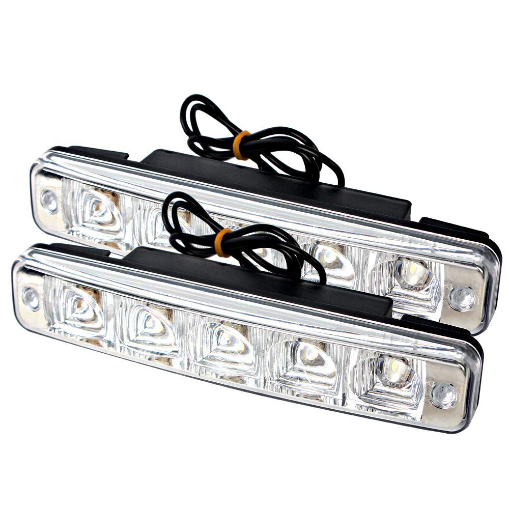 1 пара водить автомобиль, дневной Бег DRL супер яркий 5 светодиодов универсальный автомобиль-Стайлинг внешний источник света автомобилей тум...