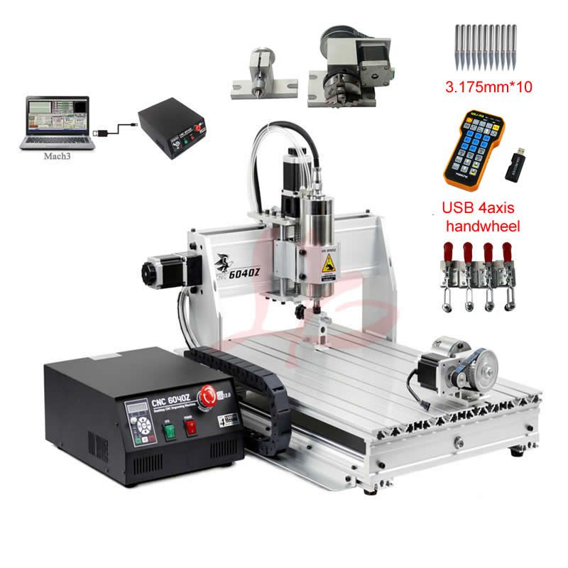 cnc 6040 engraving router 4axis woodworking milling machine 1500w cooling spindle mach3 control handwheel