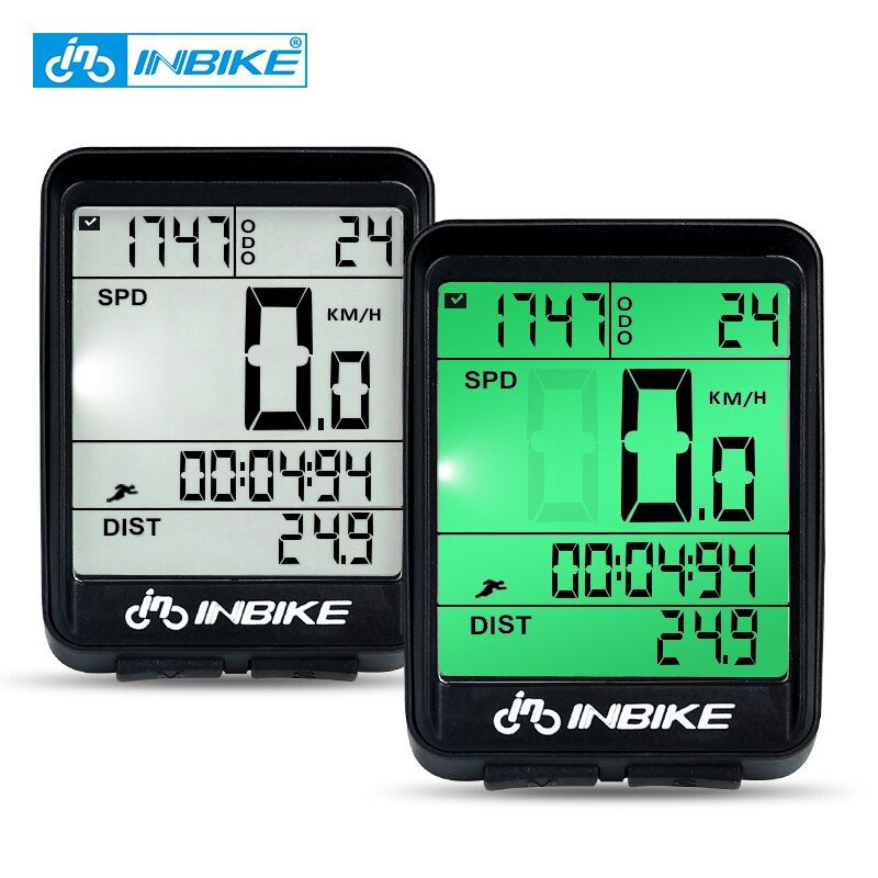 Ordinateur de vélo étanche INBIKE sans fil vtt vélo compteur kilométrique chronomètre étanche à la pluie compteur de vitesse montre LED taux numérique