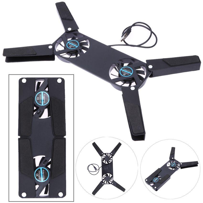 Tragbare Schlanke Smart Laptop Cooling Pad USB Fan und spielen 2 Lüfter Kühler Für Notebook PC Laptop Pc-peripheriegeräte schwarz
