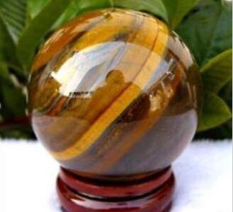 Boule de sphère de cristal de quartz d'oeil de tigre naturel de 40mm + support