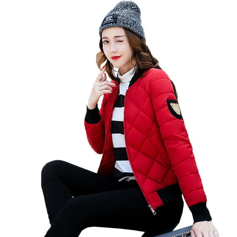 2017 Autumn Winter New Baseball Cotton Padded Jacket Fashion Short Slim Stand Collar Epaulet Casual Parkas Coat Woman
