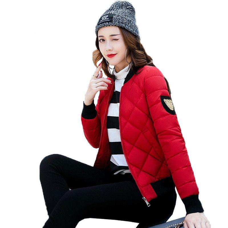 2017 herbst Winter Neue Baseball Baumwolle Gefütterte Jacke Mode Kurze Schlanke Stehkragen Epaulet Lässige Parkas Mantel Frau