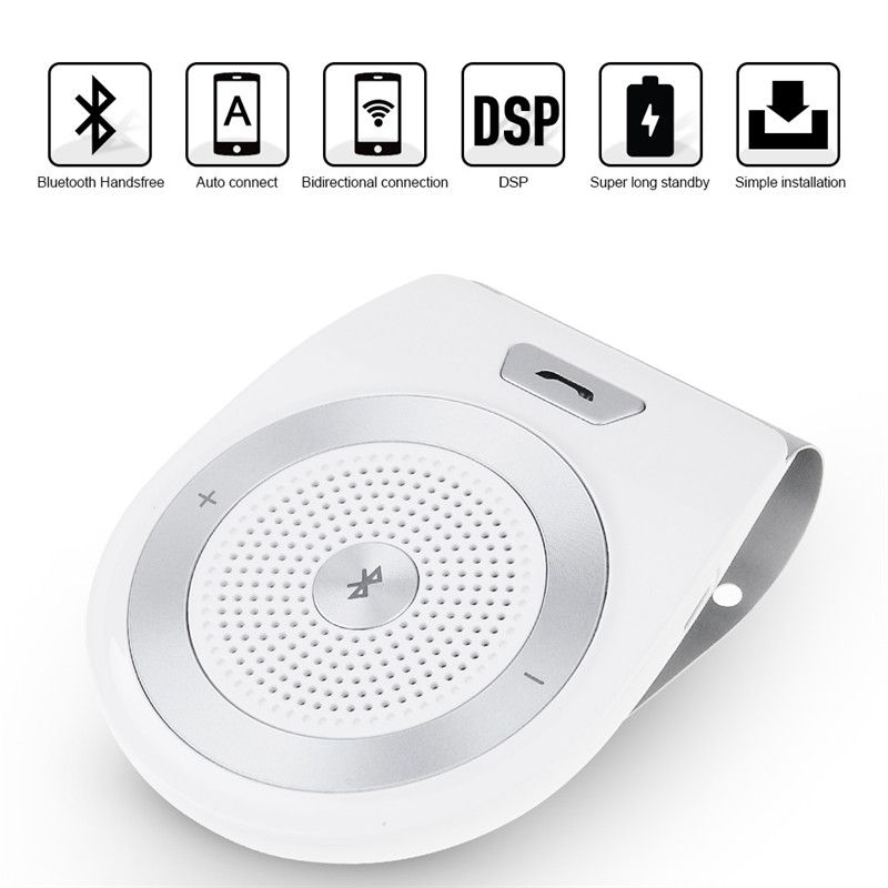 <font><b>Handsfree</b></font> Bluetooth Car Kit For iPhone Speakerphone Noise Cancelling Multipoint Wireless Clip On Sun Visor Portable Car Audio