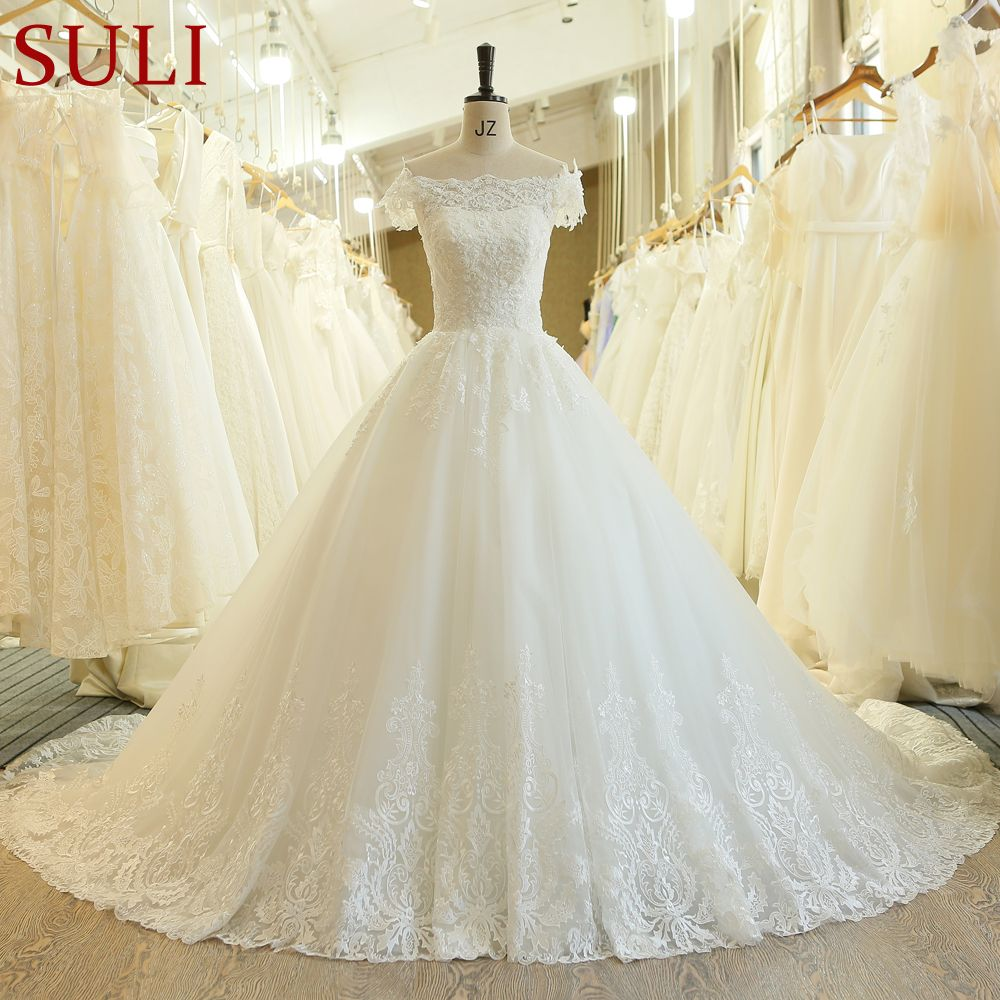 SL-540 Hot Sale Pearls Flowers Wedding Dresses 2019 New Short Sleeve Muslin Lace Appliques Boho Wedding Gowns Bridal Dress