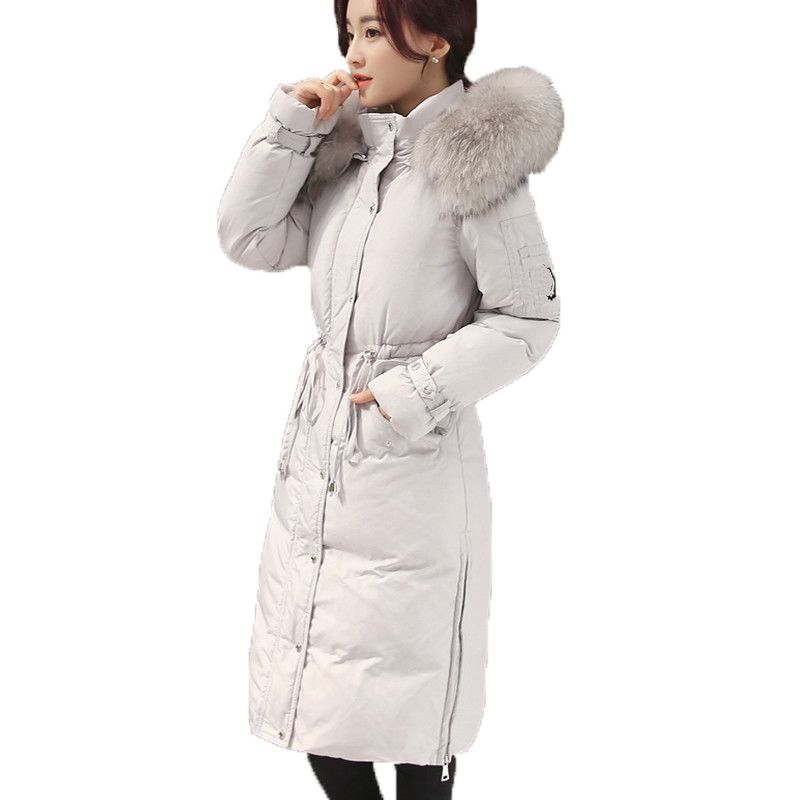 Women Thick Duck Down Jacket 2017 Winter Real Raccoon Fur Collar Hooded Slim Long Sleeved Medium-long Down Coat Parkas Mujer