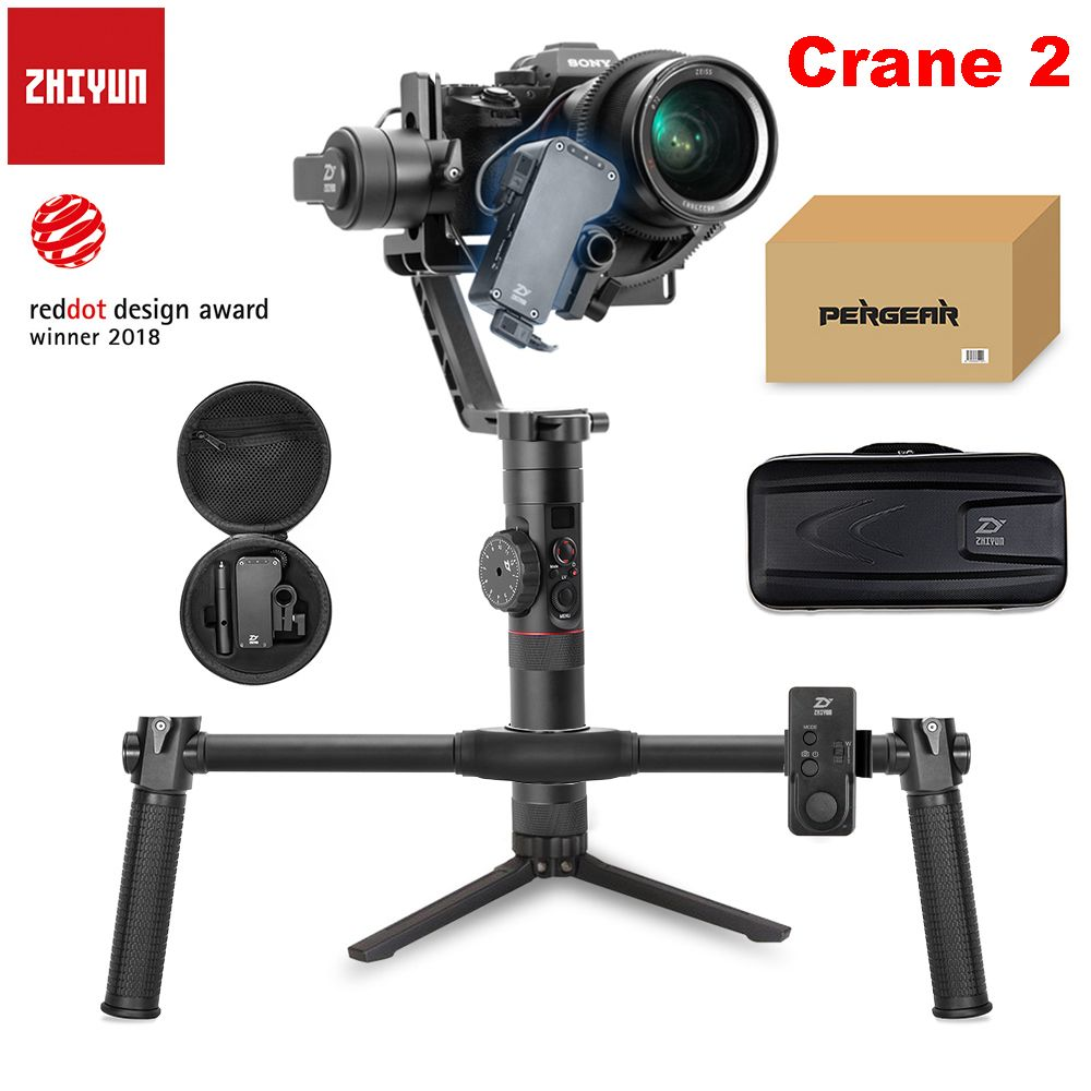 Zhiyun Crane 2 3-Axis Handheld Gimbal Video Camera Gyro Stabilizer for DSLR with Follow Focus Remote 3.2Kg Payload OLED Display