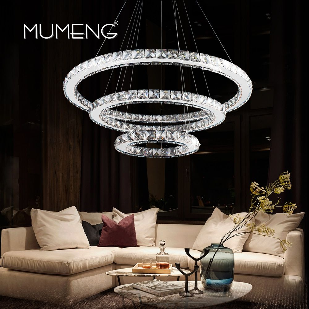 Mumeng LED хрустальная люстра современный кольцо висит Кухня светильник 3/2/1 круг Обеденная Гостиная светильник