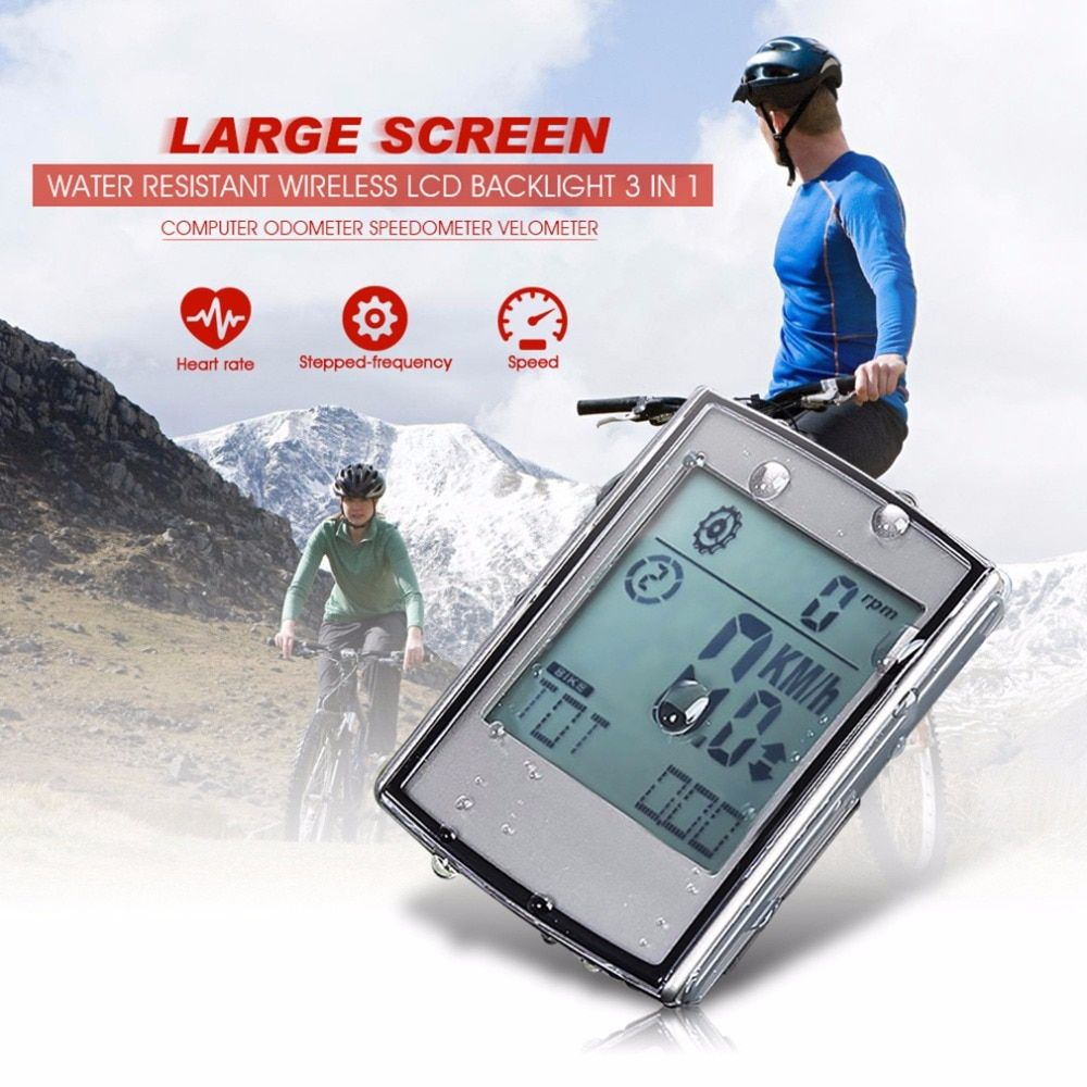 3 in 1 Wireless Bicycle Computer Bike Odometer Speedometer LCD Display With Cadence Heart Rate Monitor High Quality
