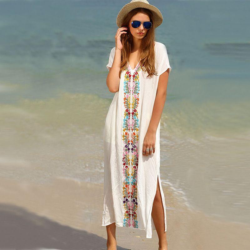 2018 strand Printed Kleid Neue Weiß Sling V-ausschnitt Backless Sexy Kleid Sleeveless Aushöhlen Sommer Frauen Strand Kleider