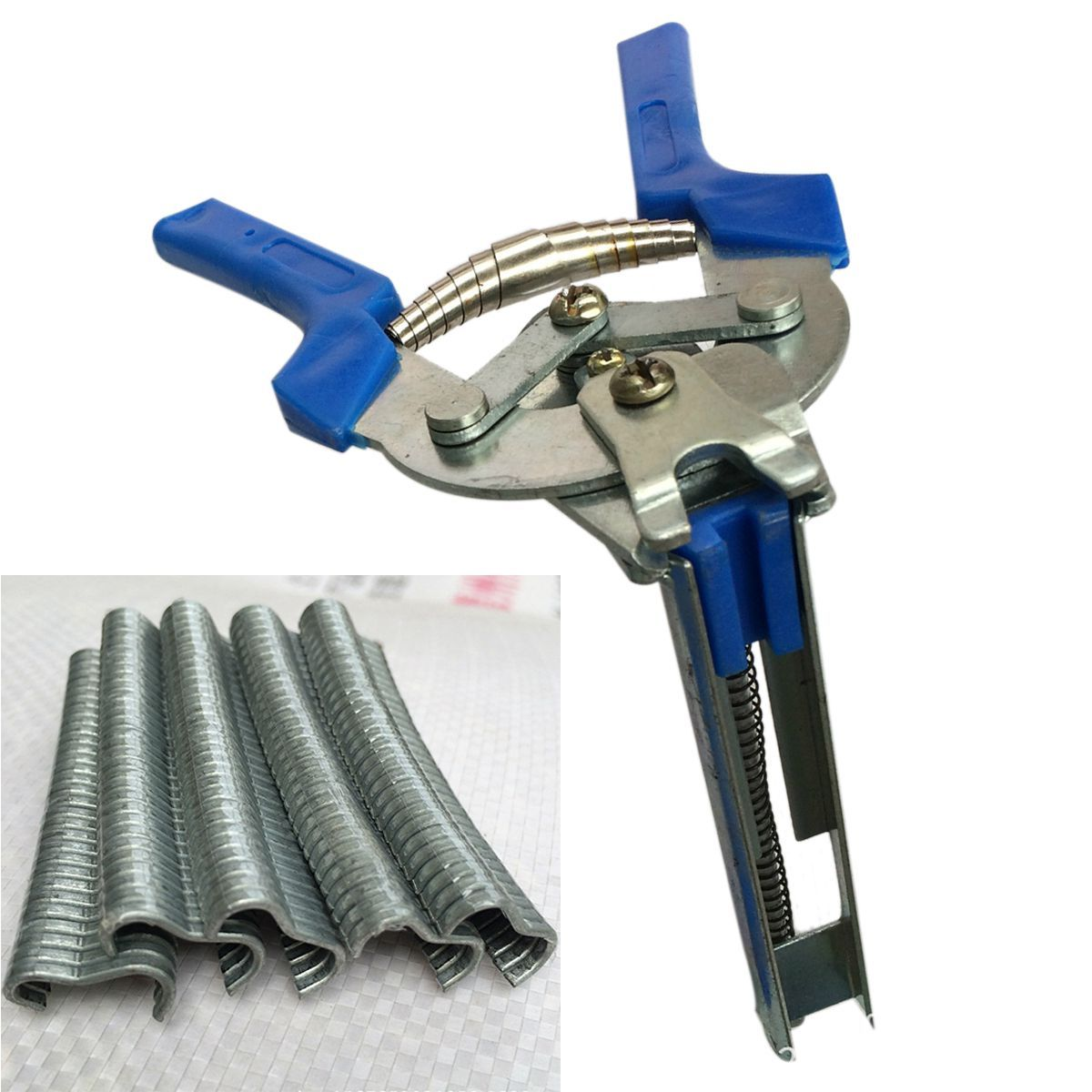 HHO 1pc Hog Ring Plier Tool and 600pcs M Clips Chicken Mesh Cage Wire Fencing Crimping Solder Joint Welding Repair Hand Tools