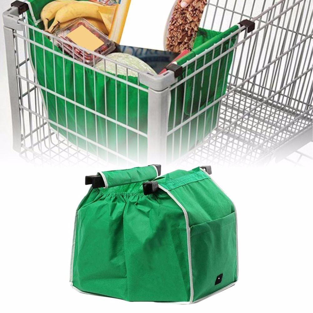De gran Capacidad Verde No tejido Bolso De Compras Reutilizable Plegable Supermercado Clip Para Apoderarse de Carro De Supermercado Bolsas de Compras