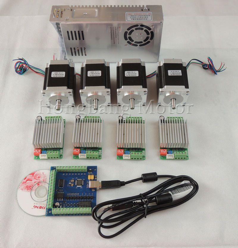 Mach3 CNC USB 4 Cnc-5-achsen-kit, 4 stücke TB6600 fahrer + USB schrittmotorsteuerung karte 100 KHz + 4 stücke nema23 unzen-in motor + power versorgung