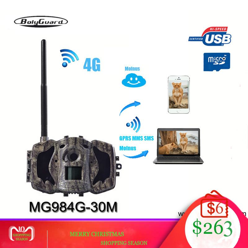 Bolyguard hunting camera 4G Wild camera GSM night vision MMS GPRS Black IR 30MP 1080P HD Photo Traps thermal imagers TrailCamera