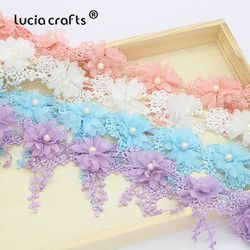 1yards/lot 7cm Flower Embroidery Lace Fabric Trim Ribbons DIY Sewing Garment Handmade Materials Accessories 050025104