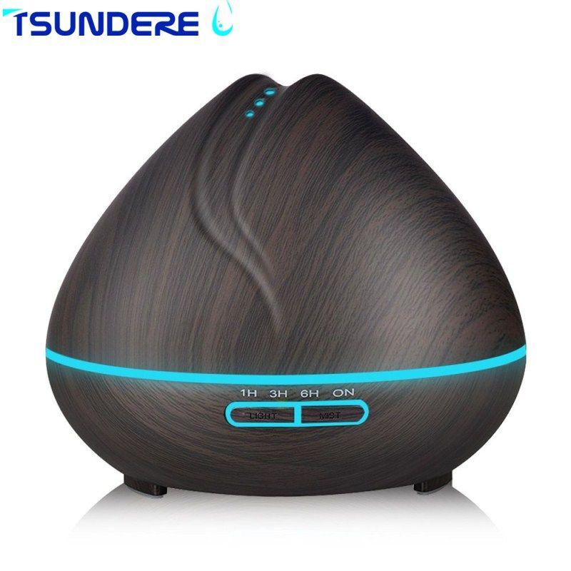 TSUNDERE L 400 ML Luftbefeuchter Ultraschall Aroma Ätherisches Öl Diffusor Kühlen Nebel-hersteller Aromatherapie mit Holzmaserung für Zuhause