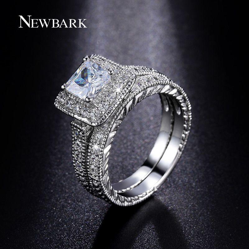 NEWBARK Ringe Set für Frauen Silber Farbe Große 1.5ct Prinzessin Cut CZ Verlobungsring Hochzeit Schmuck Anillos Casamento Anel