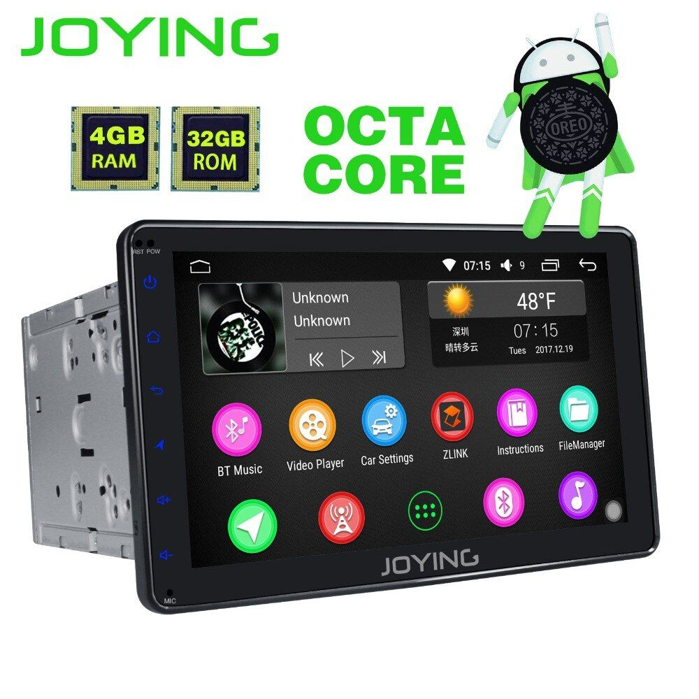 JOYING 2 Din 8 Core 4GB RAM 8 inch Android 8.0 GPS player radio cassette recorder head unit audio stereo support apple carplay