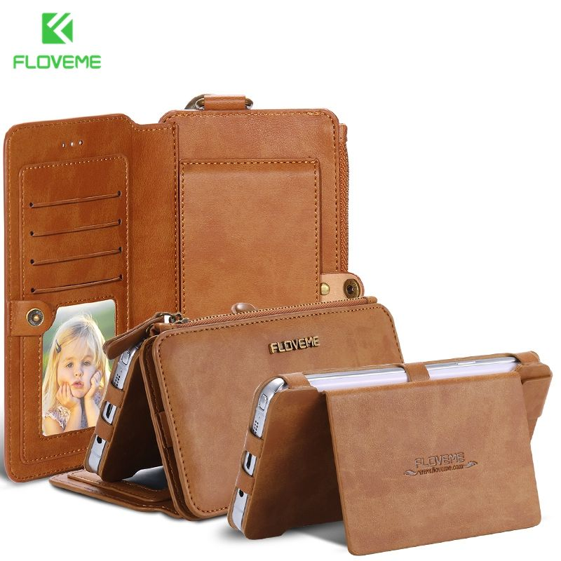 FLOVEME Original Brand Leather Case for Samsung Note 3 Note 4 Vintage Classic Folded Stand Wallet Cover Card Holder For Note 5 7