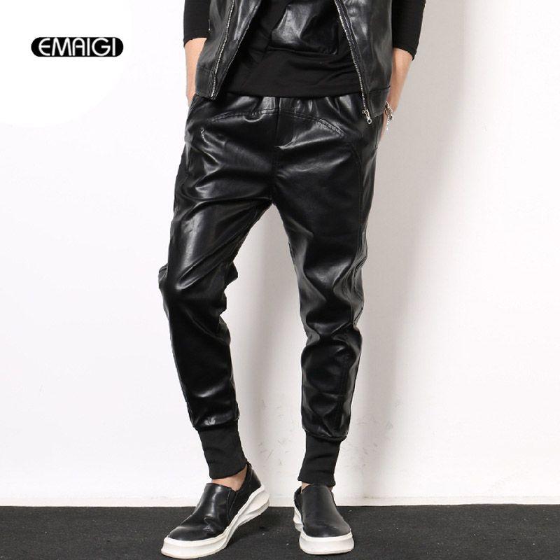 Elastic Waist Punk Men Leather Motorcycle Pants Male Fashion Casual Harem Pant Long Trousers
