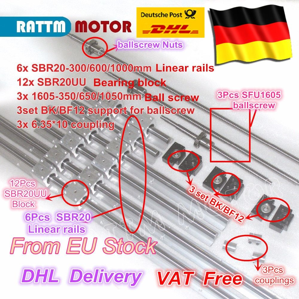 EU free VAT 3 ballscrew SFU1605-350/650/1050+3BK/BF12 & 3set BK/BF12 & 6pcs SBR20 Linear Guide rails & 3 couplers for CNC Kit