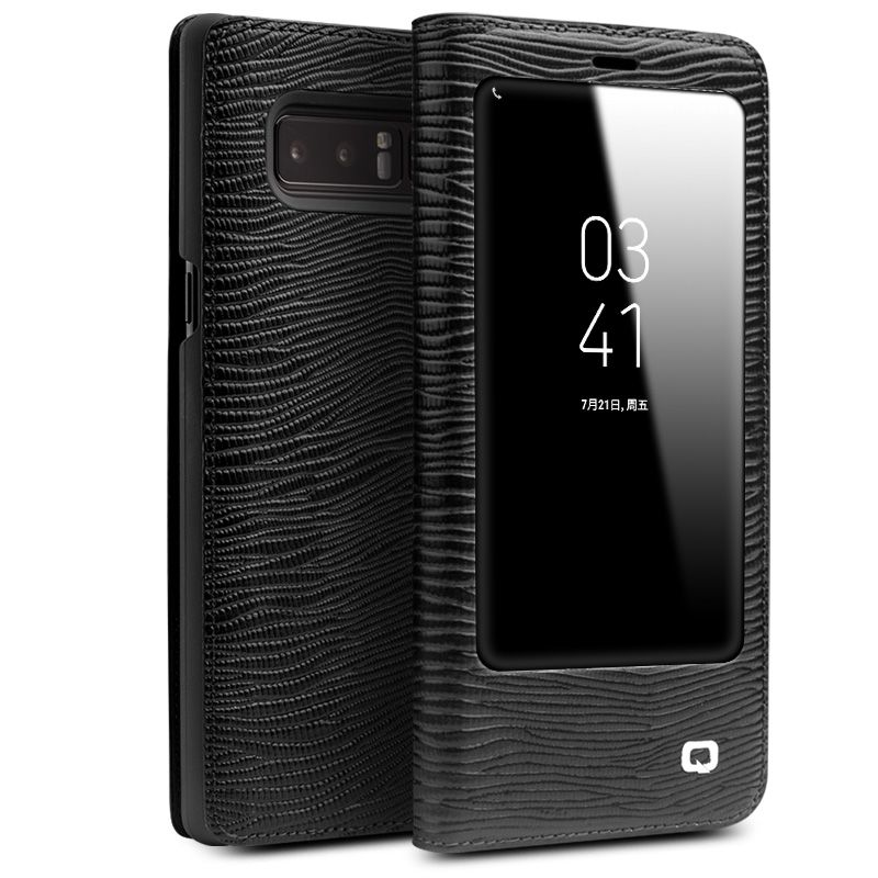 QIALINO für Samsung-anmerkung 8 Cases Smart Ansicht Schlag-echtes Leder fenster Abdeckung für Samsung-anmerkung 8 Fall Schlaf Wake Up Funktion