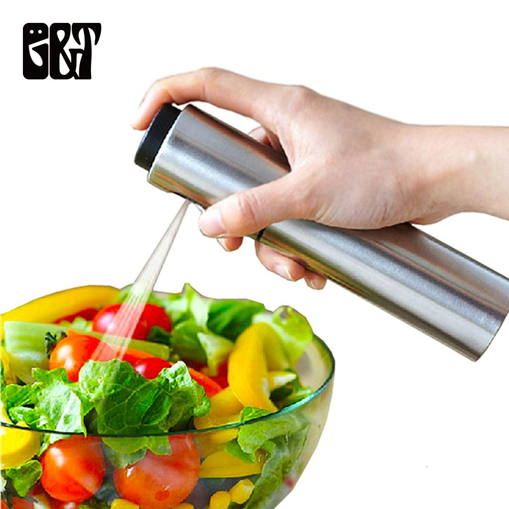 Stainless Steel Spray Bottles Refillable Oil Vinegar Mist Spraying Bottle Water Pump Gravy Boats Grill BBQ Sprayer Kitchen Tools
