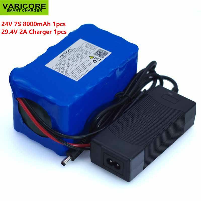 Batterie au Lithium 24 V 8 Ah 7S4P 18650 batterie vélo électrique 29.4 v cyclomoteur/batterie électrique/Lithium ion avec chargeur BMS +