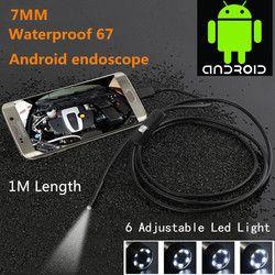 Водонепроницаемый 480 P HD 7 мм объектив наблюдательная трубка 1 м эндоскоп мини USB гибкая камера с 6 светодиодами бороскоп для андроида телефон...