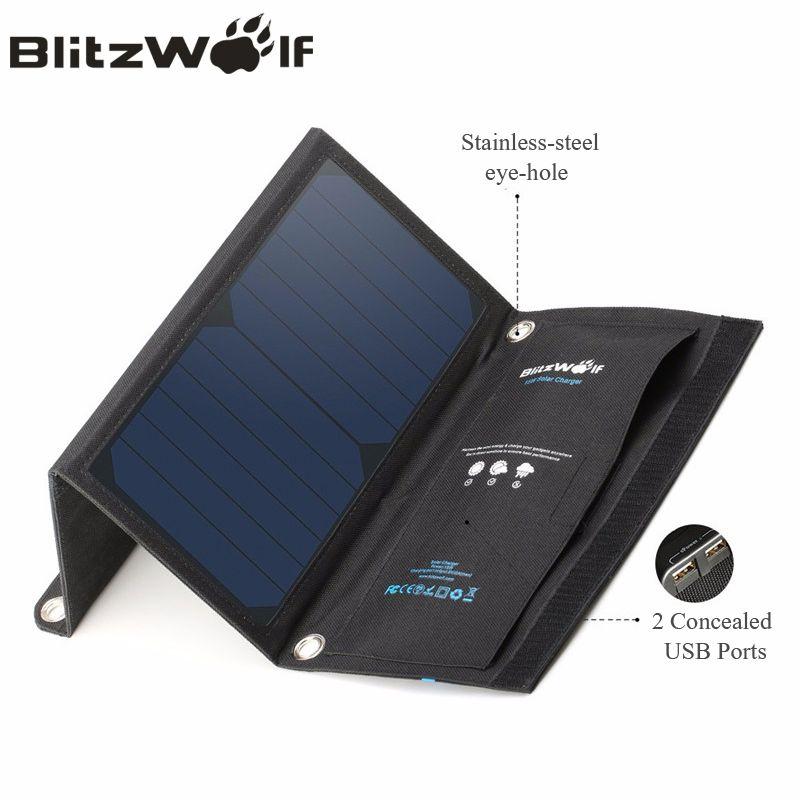 BlitzWolf 15 Watt 2A Faltbare Portable Dual USB SunPower Solarzelle Panel Ladegerät mit Power3S für iPhone X 8 Plus 7 6 s Für iPad Air