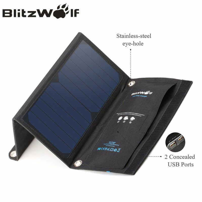 BlitzWolf 15W 2A Foldable Portable Dual USB SunPower Solar Cell Panel Charger with Power3S for iPhone X 8 Plus 7 6s For iPad Air