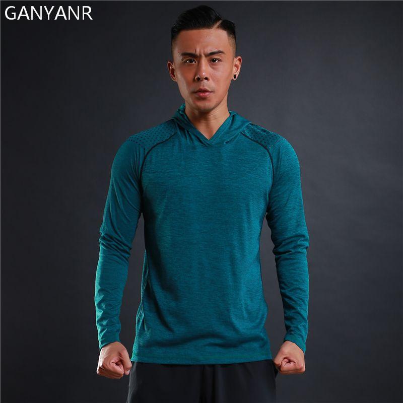 GANYANR Brand Running T Shirt Men Tennis Basketball Sportswear Gym Jogging Fitness Tops Tee Slim Fit quick Dry Sports Exercise