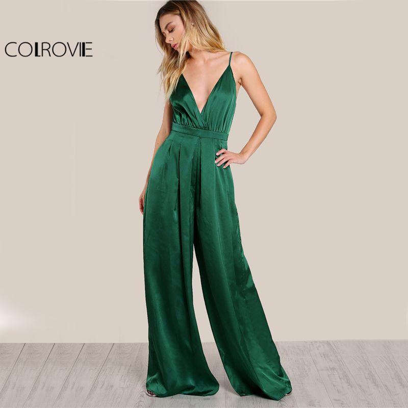 COLROVIE Culotte Leg Elegant Cami Jumpsuit Women Box Pleated Sexy V Neck Jumpsuits 2017 Fall Surplice Front Sleeveless Jumpsuit