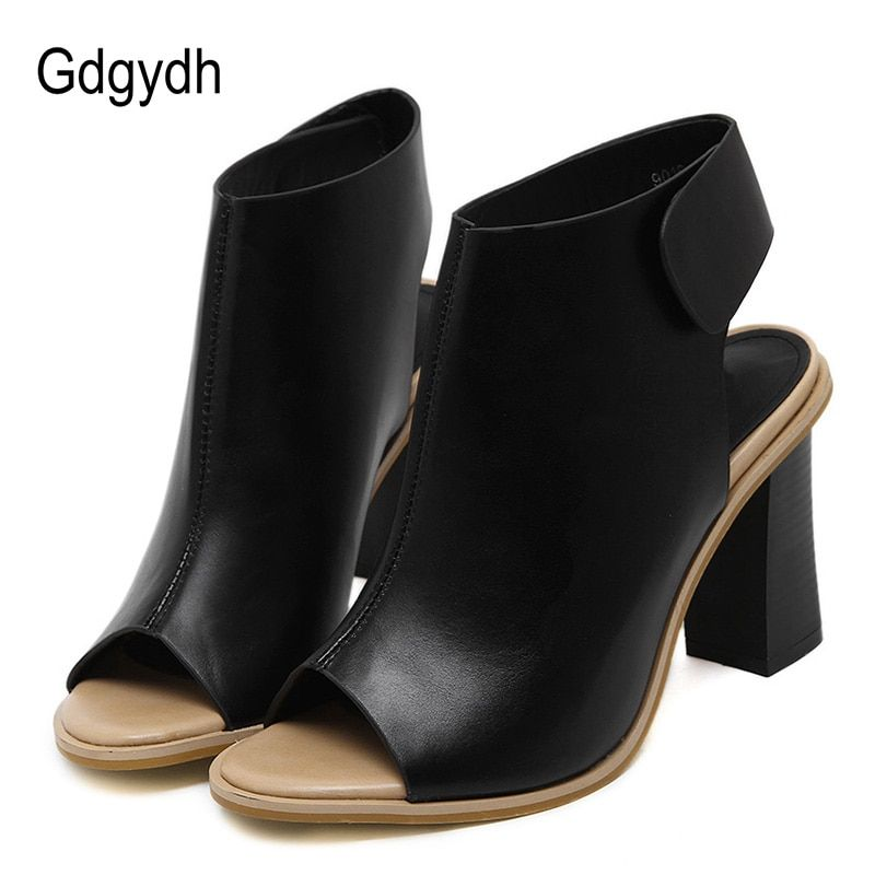 Gdgydh Spring Fashion Women Shoes Slingbacks Hook Loop Thick Heel Dress Shoes Ladies Brand Designer Party Female Open Toe Pumps