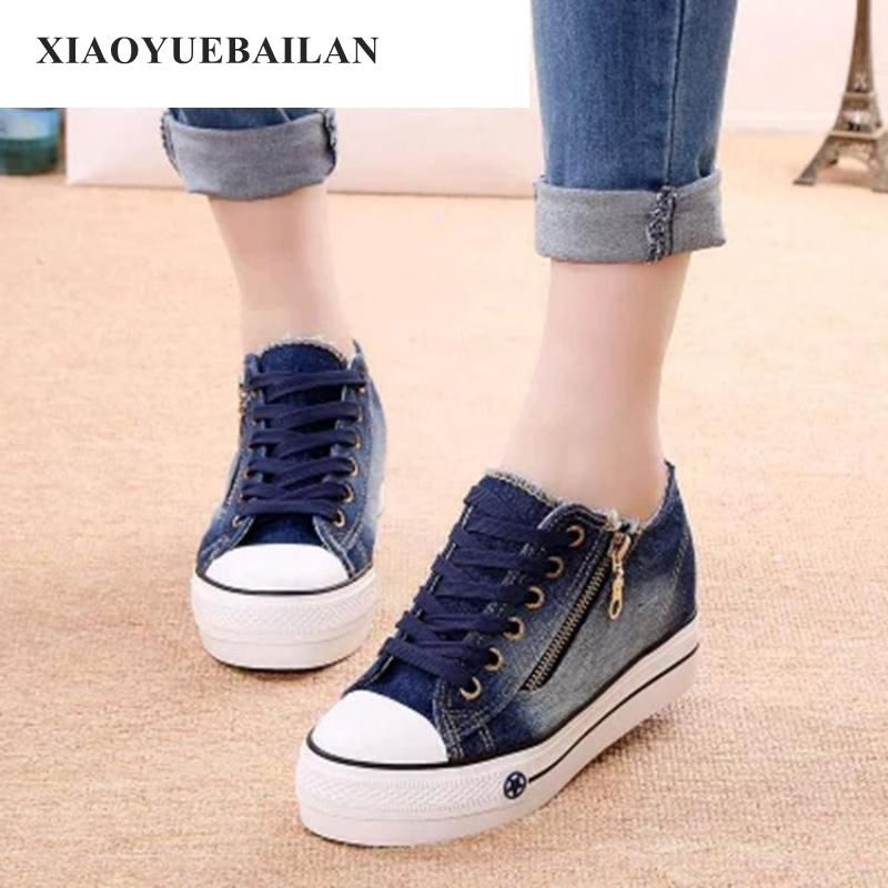 2018 Thick Soled Canvas Shoes Increased Female Student Muffin Low Help Recreational Side Zipper Denim