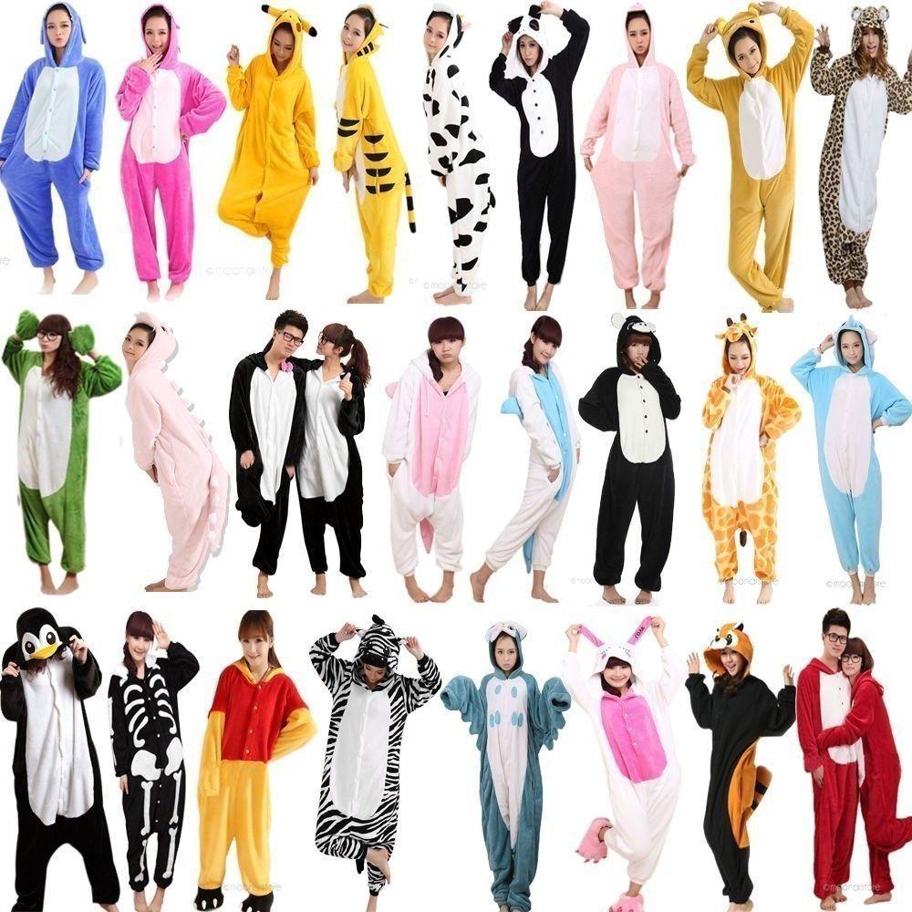 Nouvelle Hiver Femmes Adultes Animal Pyjamas en Flanelle Pyjama Ensembles Halloween À Capuchon vêtements de Nuit Homewear Licorne Point Panda Zèbre Pikachu