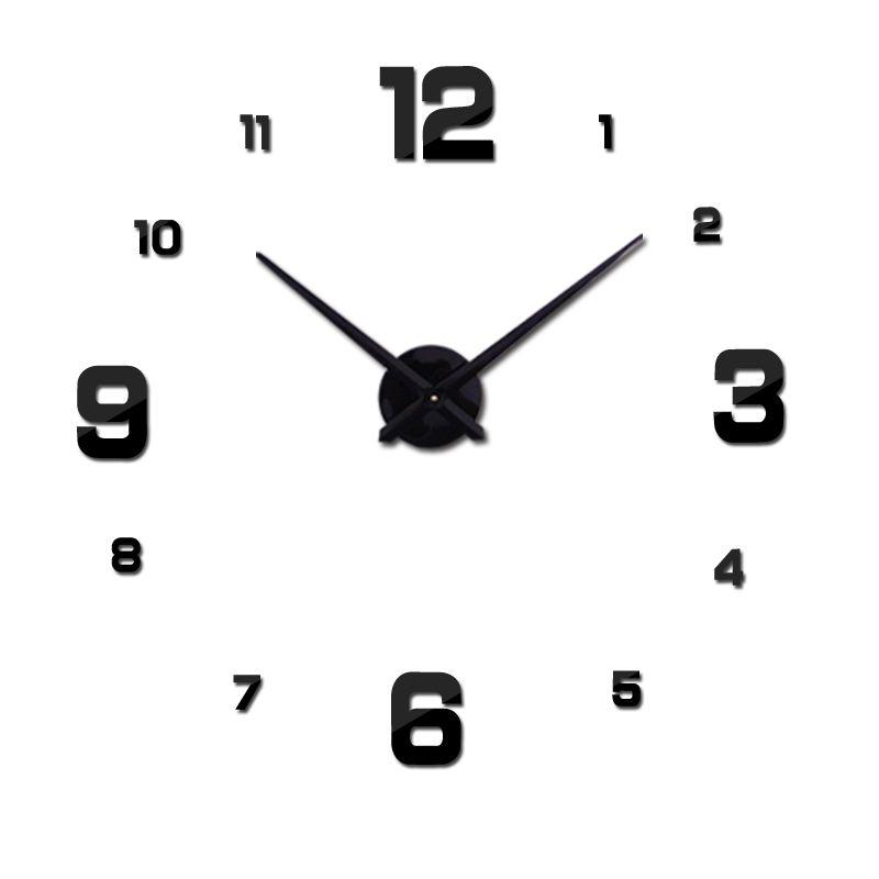 2016 Бесплатная доставка новых реального из металла 3D DIY акриловое зеркало настенные часы украшения дома современный иглы кварцевые наклейки