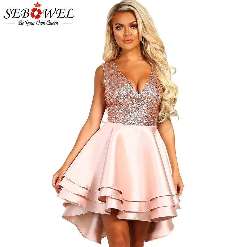 SEBOWEL Gold Sequin Skater Dresses Woman Sleeveless Glitter Sexy V-neck Backless Ball Gown Satin Multi Layer Dress Party Night