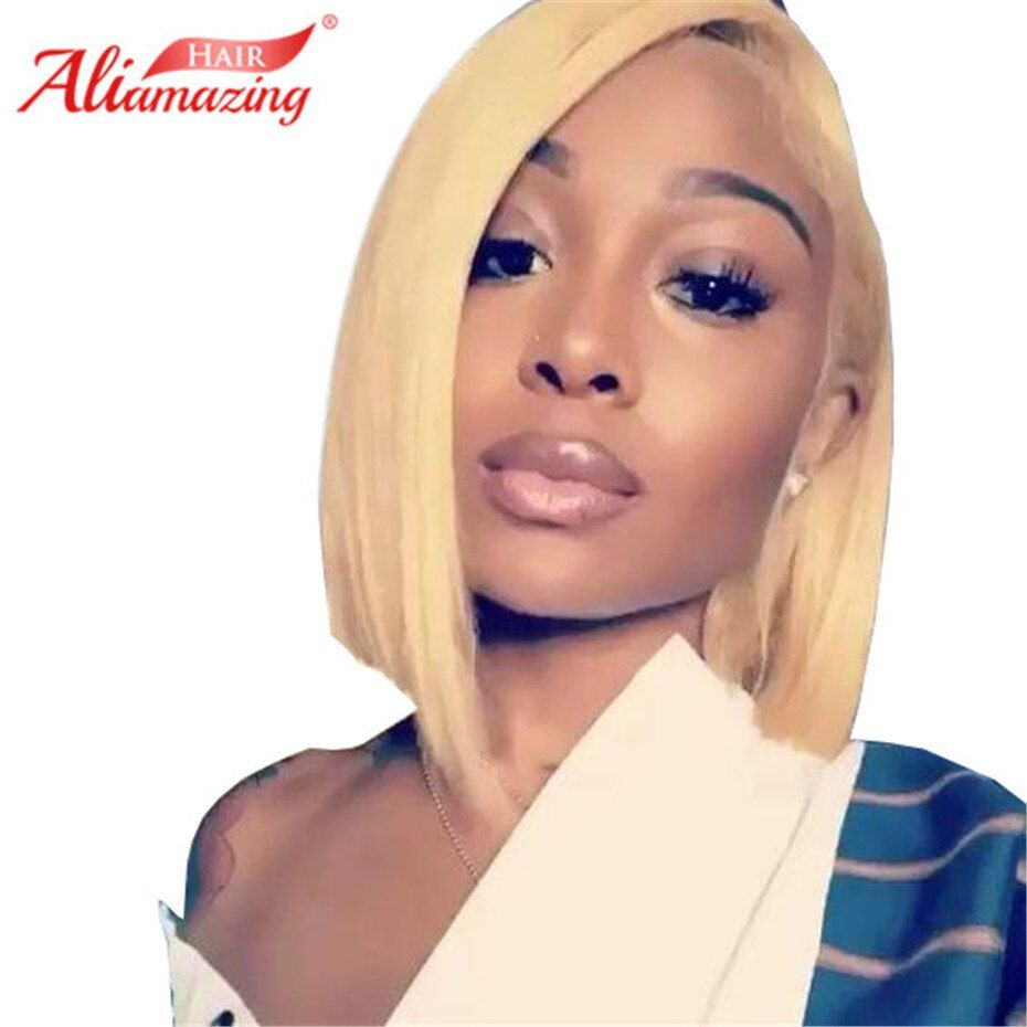 Ali Amazing Hair #613 Blonde Bob Wig Brazilian Remy Hair Short Lace Front Human Hair Wigs For Black Women Bleached Knots