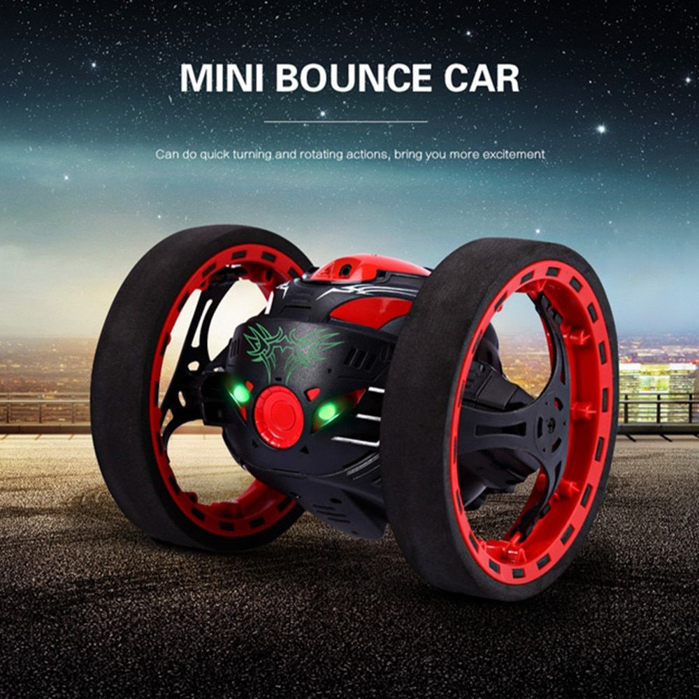 Mini Gifts Bounce Car PEG SJ88 2.4GHz RC Bounce Car with Flexible Wheels Rotation LED Light Remote Control Robot Car