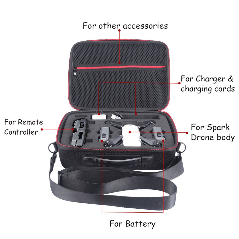 New Nylon Waterproof Hardshell Shoulder Box Pouch Cover Bag Case for DJI Spark Drone and All Accessories Storage Bag Carry Case