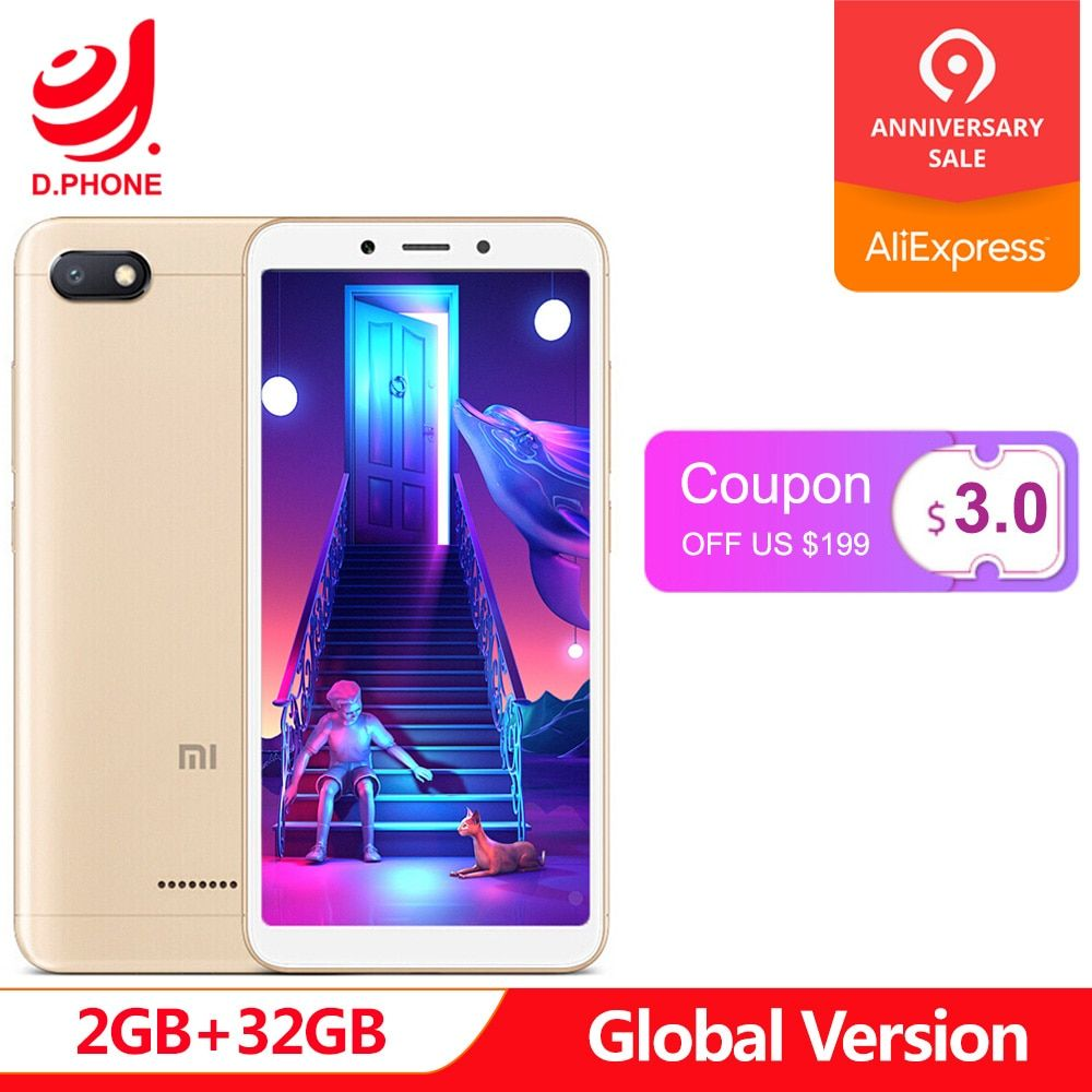 Version originale globale Xiaomi Redmi 6A 6 A 2 GB 32 GB Smartphone 5.45 ''plein écran A22 Quad Core 13MP caméra AI Face déverrouillage