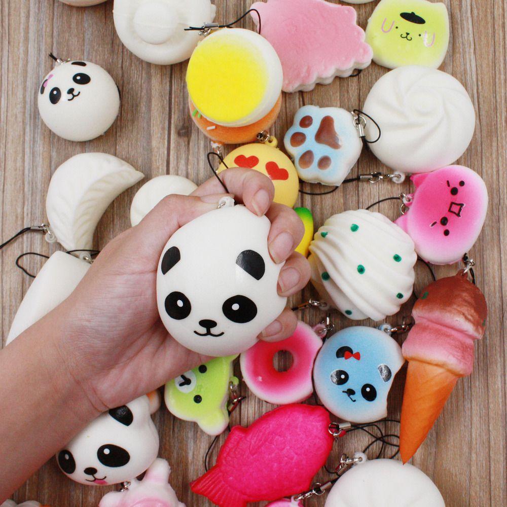 30pcs Squishy Phone Straps Slow Rebound Cute Mini Kawaii Decompression Jumbo Panda Bun Cute Soft Bread Cake ice Cream Gift
